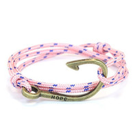 Thin Nylon Cord Fish Hook Bracelet in Pink