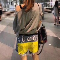 """Gucci"" Fashion Personality Multicolor Letter Print Worn Ripped Denim Pants Shorts Jeans"