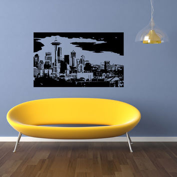 Seattle Skyline City Sights Wall Sticker Decal 2414