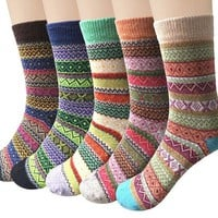 ONETOW Womens 5 Pairs Winter Warm Vintage Style Thick Knit Wool Cozy Crew Socks