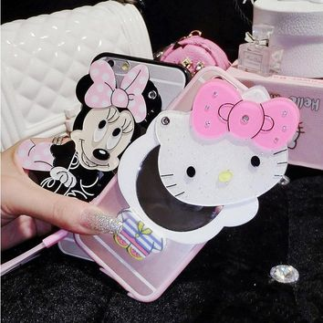 Hello Kitty Mickey Mouse With mirror soft TPU Silicone cover For Samsung Galaxy J5 2016 J7 2016 J3 Pro phone case With chain