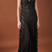 Sleeveless V Neck Eyelash Lame Gown | Moda Operandi