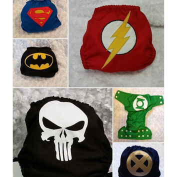 Cloth Diaper 6 pack bundle deal - Comic Superheroes - choose AIO, AI2, Pocket or Cover