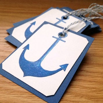 Set of 8 Blue Anchor Handmade Paper Gift Tags for Nautical Theme Party or Shower Favors - Birthday, Baby Shower, Wedding Favor Decor
