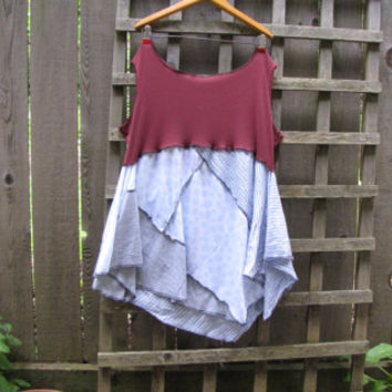 Plus Size Tunic Shirt Lagenlook Upcycled Tank Top/ Funky Asymmetrical Maroon Blue White Gray Eco Blouse/ Womens Tank Tops XL/XXL