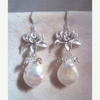 Bridal Earrings, Baroque Pearl Smoky Crystal Cluster Lotus Flower Earrings Elegant Luxe Wedding Jewelry