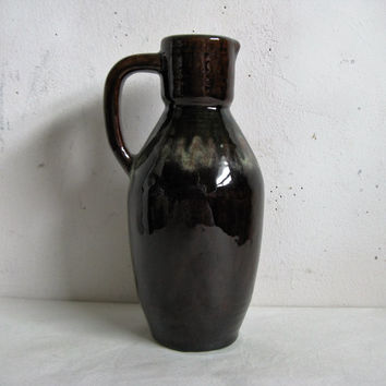Vintage 1970s Ceramic Vase USSR Russian Dark Brown High Glosss 70s Pottery Ceramic Jug