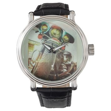 Harley Motorcycle Grunge Art Photo Watches