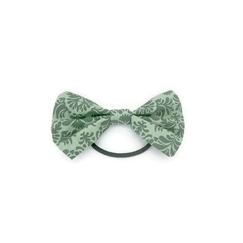 Dark Green Patterned Hair Bow | ponytail holder | hairbow | hairbows | hair accessories | hair tie | hairband | green hair bow | hair piece