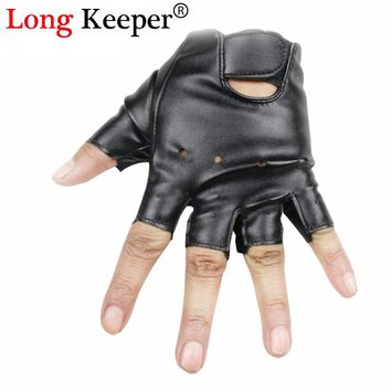Long Keeper Cool Gloves Kids Fingerless Leather Gloves Semi fingerless Glove Half-finger Black Children mittens For 5-13 Y G078