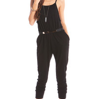 FRENCH TERRY DRAWSTRING JUMPSUIT - BLACK