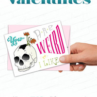 Unusual Valentine Card, Valentines Day Cards, Illustrated Greeting Card, Weird Greeting Card, Skull, Flowers, Love Cards, Strange Valentine