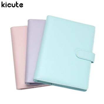 Kicute Candy Color A5 Leather Cover Loose Leaf Notebook Spiral Binder 6 Hole Loose Leaf Notepad Weekly Monthly Planner Gift