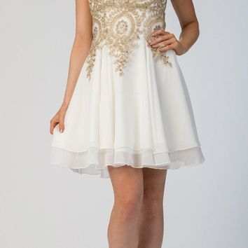 Starbox USA S6310 Off White Applique Bodice A-Line Short Homecoming Dress