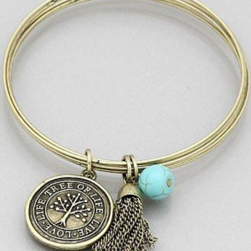 Womens Jewelry, Tree of Life Wire Bangle with Tassel Bracelets Color : Burnished Gold Size : Diameter:2.5inch