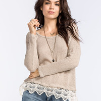 Blu Pepper Lace Bottom Womens Top Taupe  In Sizes