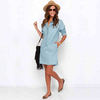 Denim Button-Up Sleeve Collared Dress