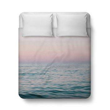Pastel Sea - Duvet Cover, Ocean Coastal Decor Beach Surf Bedding, Pink & Blue Bed Blanket Throw Cover Interior Accent. Twin Full Queen King
