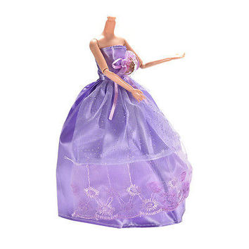 1 Pcs Princess Gown Clothes for Barbies Purple Wedding Dress for Doll Z23