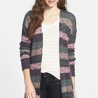 Rubbish® Marled Stripe Fringed Cardigan (Juniors) | Nordstrom