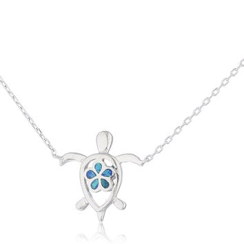 925 Sterling Silver Opal Turtle Necklace with Flower (Blue)