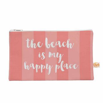 "Sylvia Cook ""Beach is My Happy Place - Coral"" Pink Typography Everything Bag"