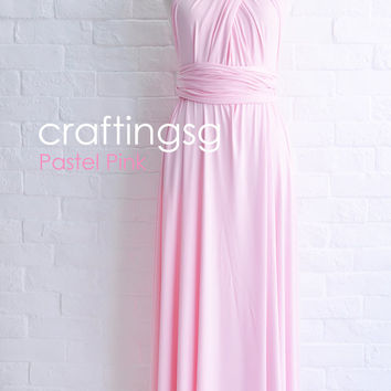 Bridesmaid Dress Infinity Dress Pastel Pink Floor Length Wrap Convertible Dress Wedding Dress