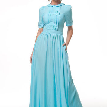 Blue Maxi Dress,Chic Dress Cotton, Dress  Special Day,Evening Dress,Blue Bridesmaid Dress,Alternatives Wedding,Long Bohemian Dress