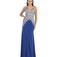 Silver & Blue V-Neck Gown Prom 2015