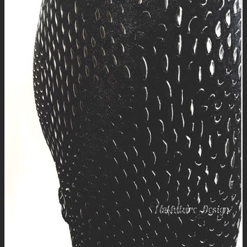 Stretch Black Velour Leggings with beaded pattern fabric.
