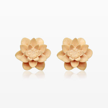 A Pair of White Water Lily Handcarved Wood Earring Stud