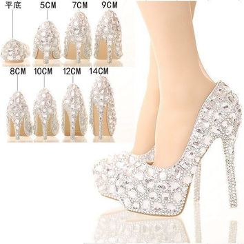 silver rhinestone Women shoes pumps crystal wedding shoes heels platform high heels pa