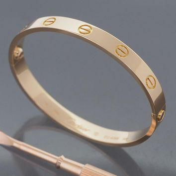 One-nice? CARTIER 18K ROSE GOLD GORGEOUS LOVE BRACELET SIZE 16 WITH CERTIFICATE AND BO