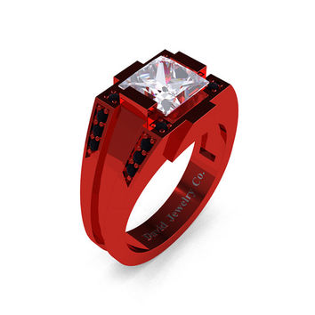 Mens Modern 14k Red Gold 2.0 Carat Princess White Sapphire Black Diamond Ring R1020M-14KREGBDWS
