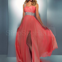 WowDresses — Enhancing Coral A-line One-shoulder Neckline Sweep Train Split Prom Dress