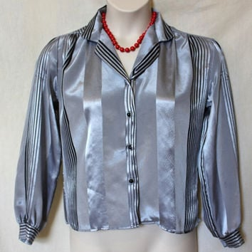 Shiny 80s Silver Blouse Vintage Black Striped Shirt Silky Smooth Fabric Collar Women Large Top
