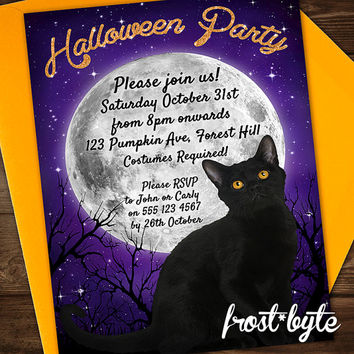 Halloween cat invitation - full moon design - cocktail party - personalised invite with your details - digital file you can print yourself