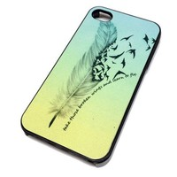 Apple iPhone 5 or 5S Case Cover Skin BROKEN WINGS FEATHER QUOTE DESIGN BLACK RUBBER SILICONE Teen Gift Vintage Hipster Fashion Design Art Print Cell Phone Accessories
