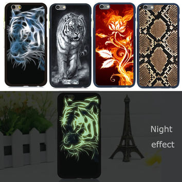 New Case For iPhone 5 5s SE Luminous Matte Glow in Dark PC Tiger Monroe Patined Phone Shell Cover Skin For Apple iPhone5S Case