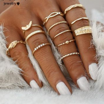 12 pc/set Charm Gold Color Midi Finger Ring Set
