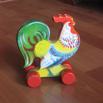 Mid Century Wheeled Rooster Pull Toy.