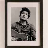 Bob Dylan Portrait With Acoustic Guitar & Cigarette By Michael Ochs/Getty Images Art Print - Urban Outfitters