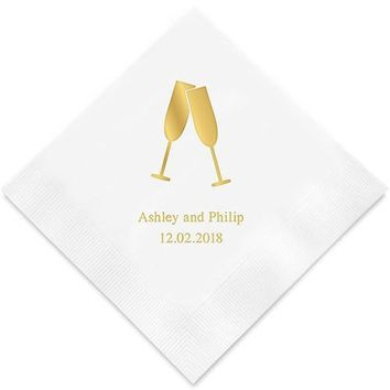 Champagne Flutes Printed Paper Napkins (Sets of 80-100)