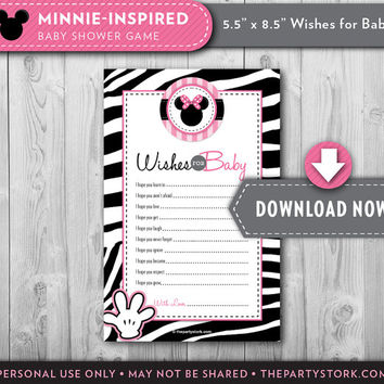 Minnie Mouse Baby Shower | Wishes for Baby Printable Card | Pink White Black Zebra Print | Invite and Decorations Available INSTANT DOWNLOAD