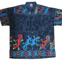 La Leela Likre Black Lizard Printed Beach Hawaiian Shirt For Men XL