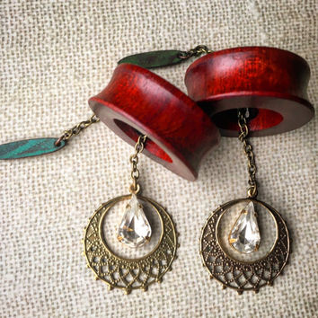 "Magnetic Bloodwood Tunnels w/ Gold Mandala Dangles-Sizes 2g(6mm)-1 1/2""(38mm)Eyelets/Wood Stretchers/Wedding/Formal/Hippie/Diamonds"