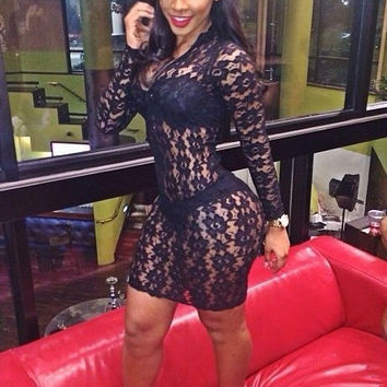 Black Lace Long Sleeve Bodycon Mini Dress