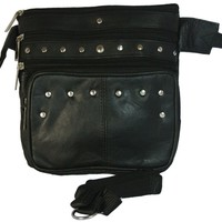 Texcyngoods Studded Leather Biker Waist Hip Bag and Cross Body Purse