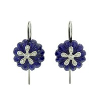 Lapis Daisy Bead Earrings - Platinum