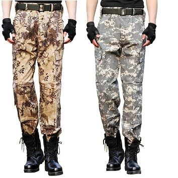 Men Military Pants SWAT Tactical Pants Camo Trousers Army Active Combat Camouflage Pants Men Casual Multi-Pockets Cargo Pants